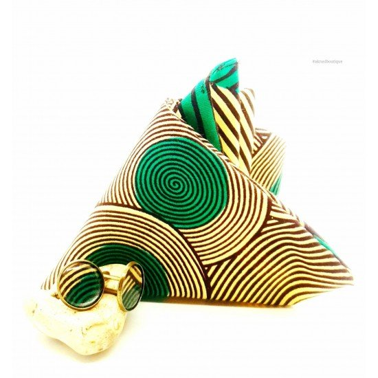 African print cream, green and brown pocket square with bronze cufflinks   men's accessories   Ankara pocket square
