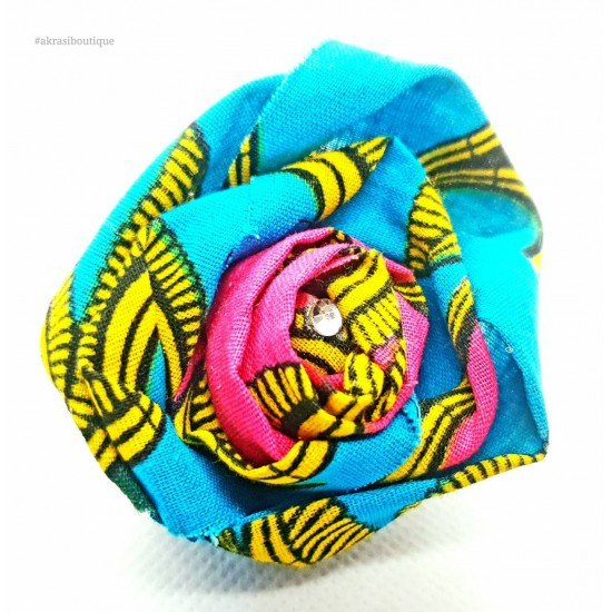 Fabric rose flower with gemstone centre   flower pin   flower hair clip   flower brooch   clothing accessories