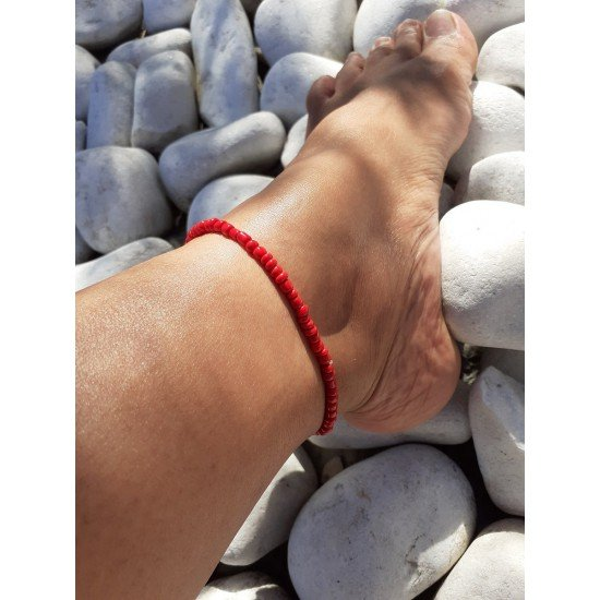 Ankle chain: Pearl red