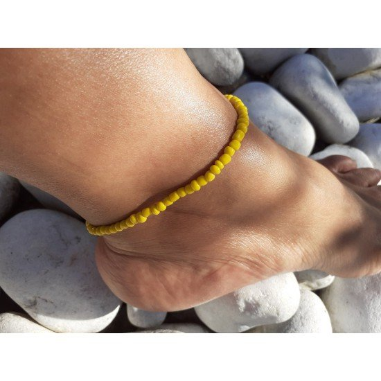 Ankle chain: Pearl yellow