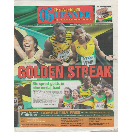 The Weekly Gleaner UK,Volume 3221, August 22-28, 2013, Cover
