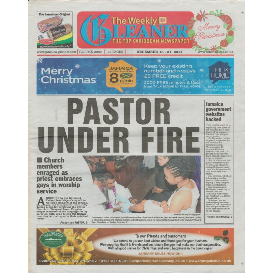 The Weekly Gleaner UK,Volume 3289, December 18-31, 2014, Cover